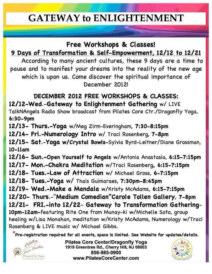 12/12/12 - 12/21/12 FREE Yoga, Numerology & Events @ Pilates Core Center